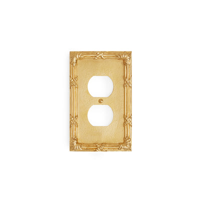 0460-PLG-GP Sherle Wagner International Ribbon & Reed Single Duplex Plug Plate in Gold Plate metal finish