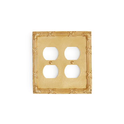 0460D-PLG-GP Sherle Wagner International Ribbon & Reed Double Duplex Plug Plate in Gold Plate metal finish