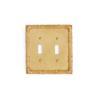 0460D-SWT-GP Sherle Wagner International Ribbon & Reed Double Switch Plate in Gold Plate metal finish
