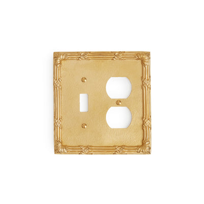 0460D-SWT-PLG-GP Sherle Wagner International Ribbon & Reed Double Single Switch & Duplex Plug Plate in Gold Plate metal finish