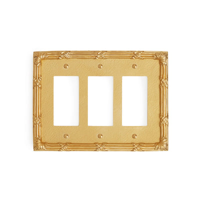 0460T-DEC-GP Sherle Wagner International Ribbon & Reed Triple Decora/GFI Plate in Gold Plate metal finish