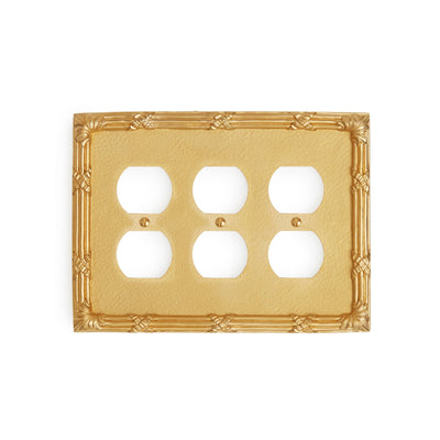 0460T-PLG-GP Sherle Wagner International Ribbon & Reed Triple Duplex Plug Plate in Gold Plate metal finish