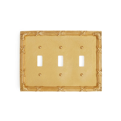 0460T-SWT-GP Sherle Wagner International Ribbon & Reed Triple Switch Plate in Gold Plate metal finish