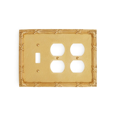 0460T-SWT-PLG-PLG-GP Sherle Wagner International Ribbon & Reed Triple Single Switch & Double Duplex Plug Plate in Gold Plate metal finish