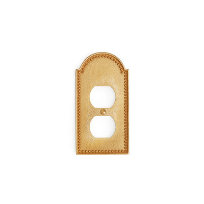 0464-PLG-GP Sherle Wagner International Beaded Single Duplex Plug Plate in Gold Plate metal finish