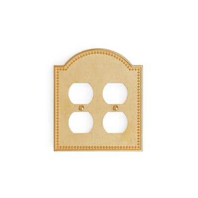0464D-PLG-GP Sherle Wagner International Beaded Double Duplex Plug Plate in Gold Plate metal finish