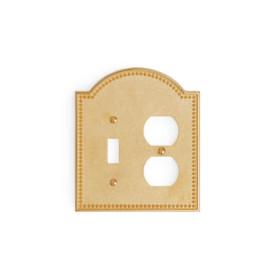 0464D-SWT-PLG-GP Sherle Wagner International Beaded Double Single Switch & Duplex Plug Plate in Gold Plate metal finish