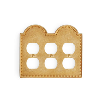 0464T-PLG-GP Sherle Wagner International Beaded Triple Duplex Plug Plate in Gold Plate metal finish