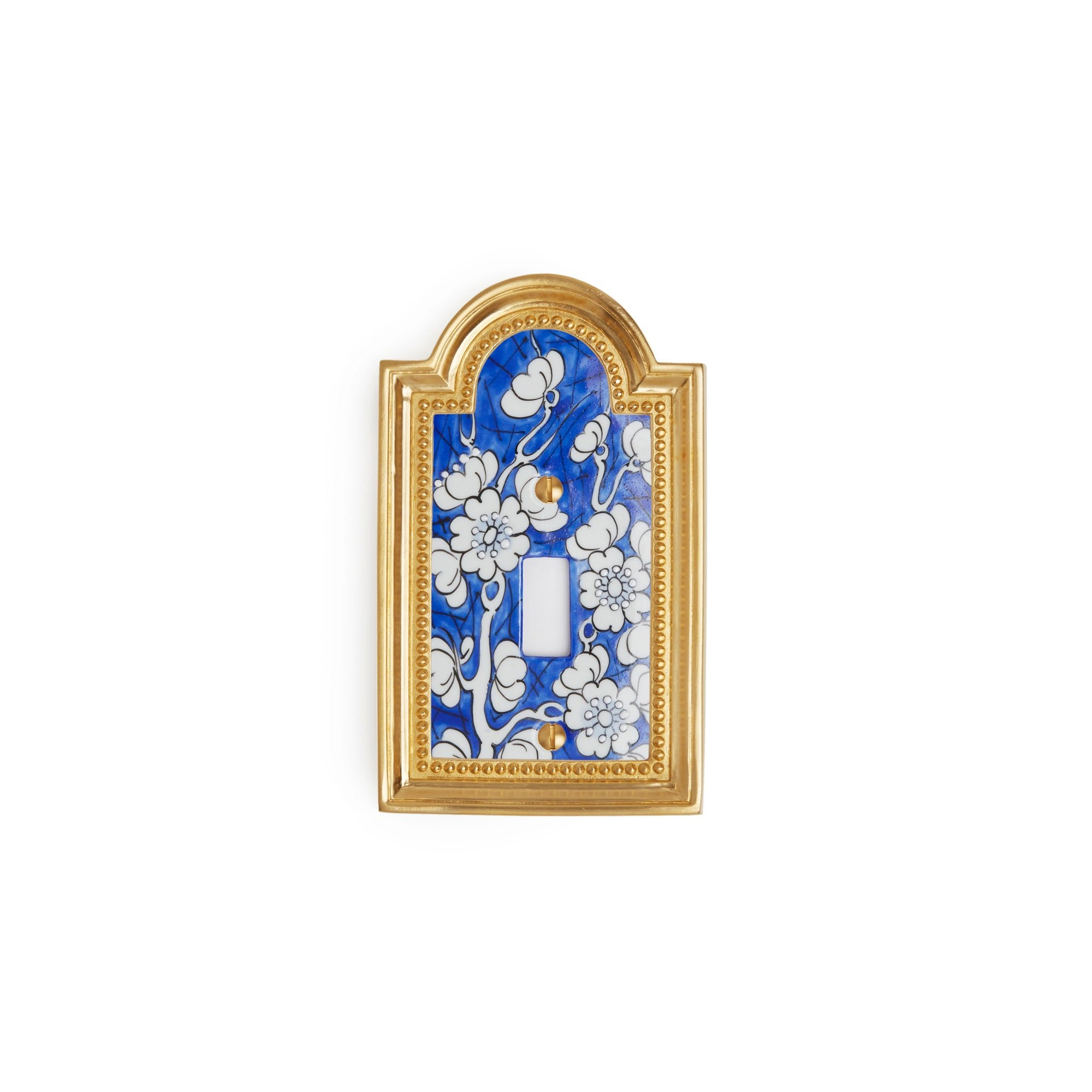 0470-SWT-18BL-WH-GP Sherle Wagner International Classical Ceramic Single Switch Plate Ming Blossom Blue on White in Gold Plate metal finish