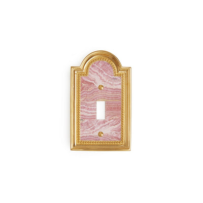 0470-SWT-RHOD-GP Sherle Wagner International Rhodochrosite Semiprecious Classical Single Switch Plate in Gold Plate metal finish