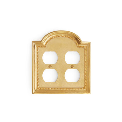 0470D-PLG-GP Sherle Wagner International Classical Double Duplex Plug Plate in Gold Plate metal finish