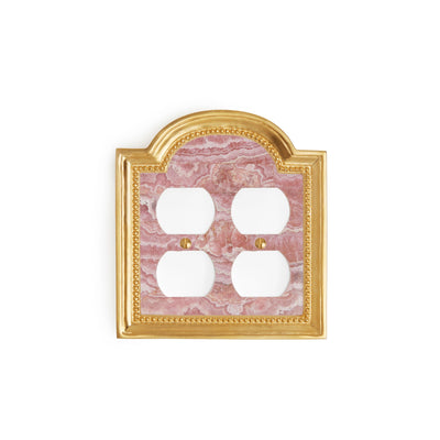 0470D-PLG-RHOD-GP Sherle Wagner International Rhodochrosite Semiprecious Classical Double Duplex Plug Plate in Gold Plate metal finish