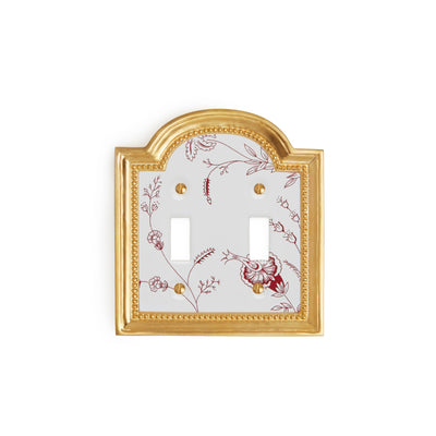 0470D-SWT-89GA-WH-GP Sherle Wagner International Classical Ceramic Double Switch Plate Le Jardin Garnet on White in Gold Plate metal finish