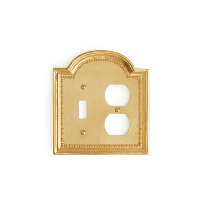 0470D-SWT-PLG-GP Sherle Wagner International Classical Double Single Switch & Duplex Plug Plate in Gold Plate metal finish