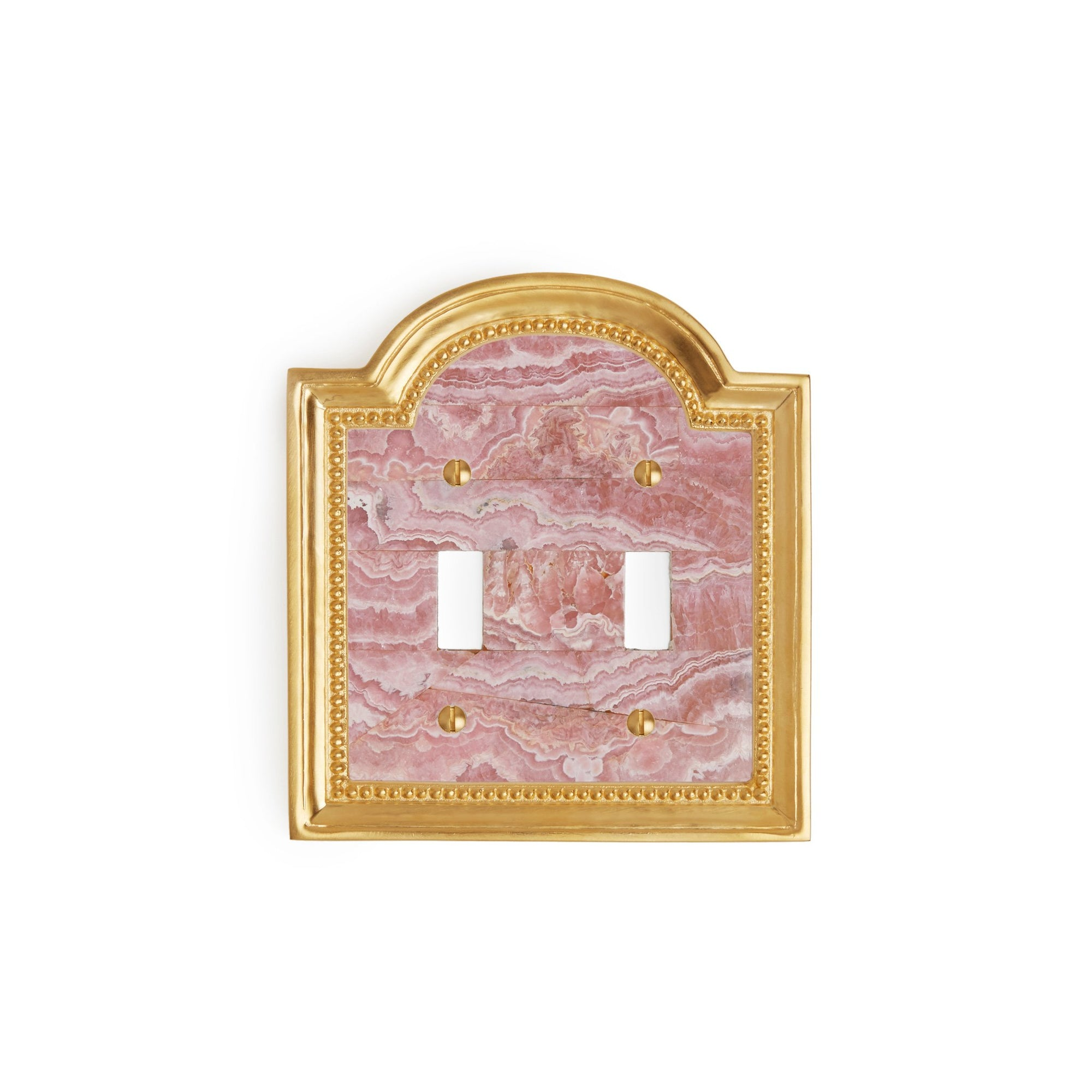 0470D-SWT-RHOD-GP Sherle Wagner International Rhodochrosite Semiprecious Classical Double Switch Plate in Gold Plate metal finish