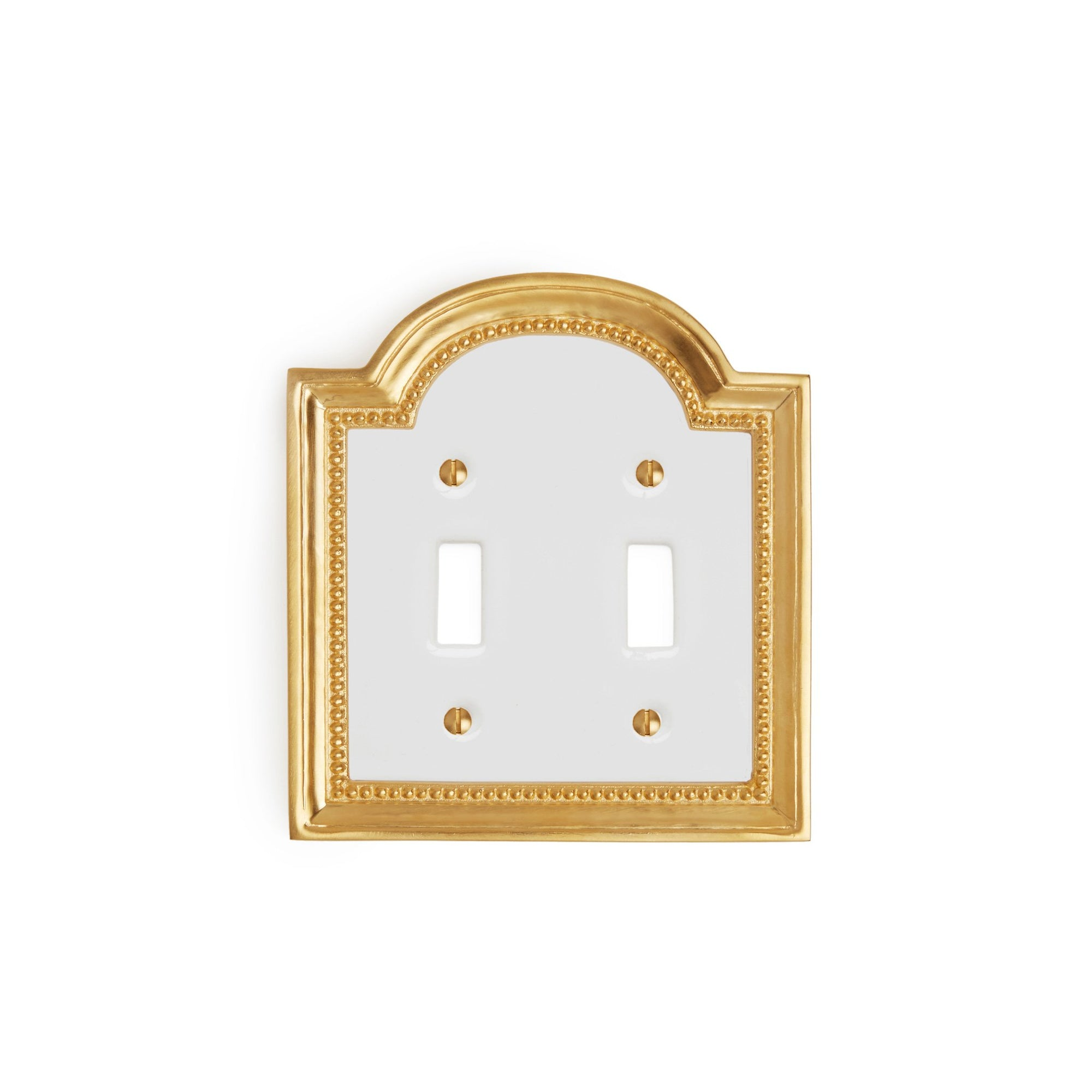 0470D-SWT-WHT-GP Sherle Wagner International Classical Ceramic Double Switch Plate on White in Gold Plate metal finish