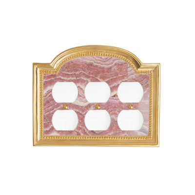 0470T-PLG-RHOD-GP Sherle Wagner International Rhodochrosite Semiprecious Classical Triple Duplex Plug Plate in Gold Plate metal finish