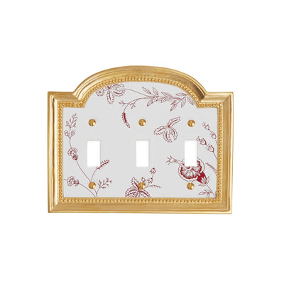 0470T-SWT-89GA-WH-GP Sherle Wagner International Classical Ceramic Triple Switch Plate Le Jardin Garnet on White in Gold Plate metal finish