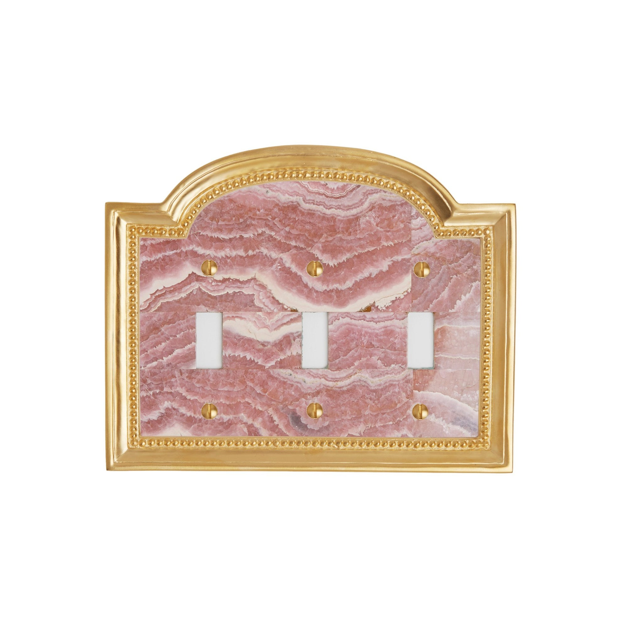 0470T-SWT-RHOD-GP Sherle Wagner International Rhodochrosite Semiprecious Classical Triple Switch Plate in Gold Plate metal finish