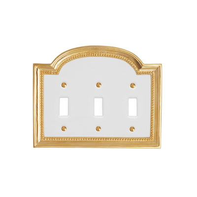 0470T-SWT-WHT-GP Sherle Wagner International Classical Ceramic Triple Switch Plate on White in Gold Plate metal finish