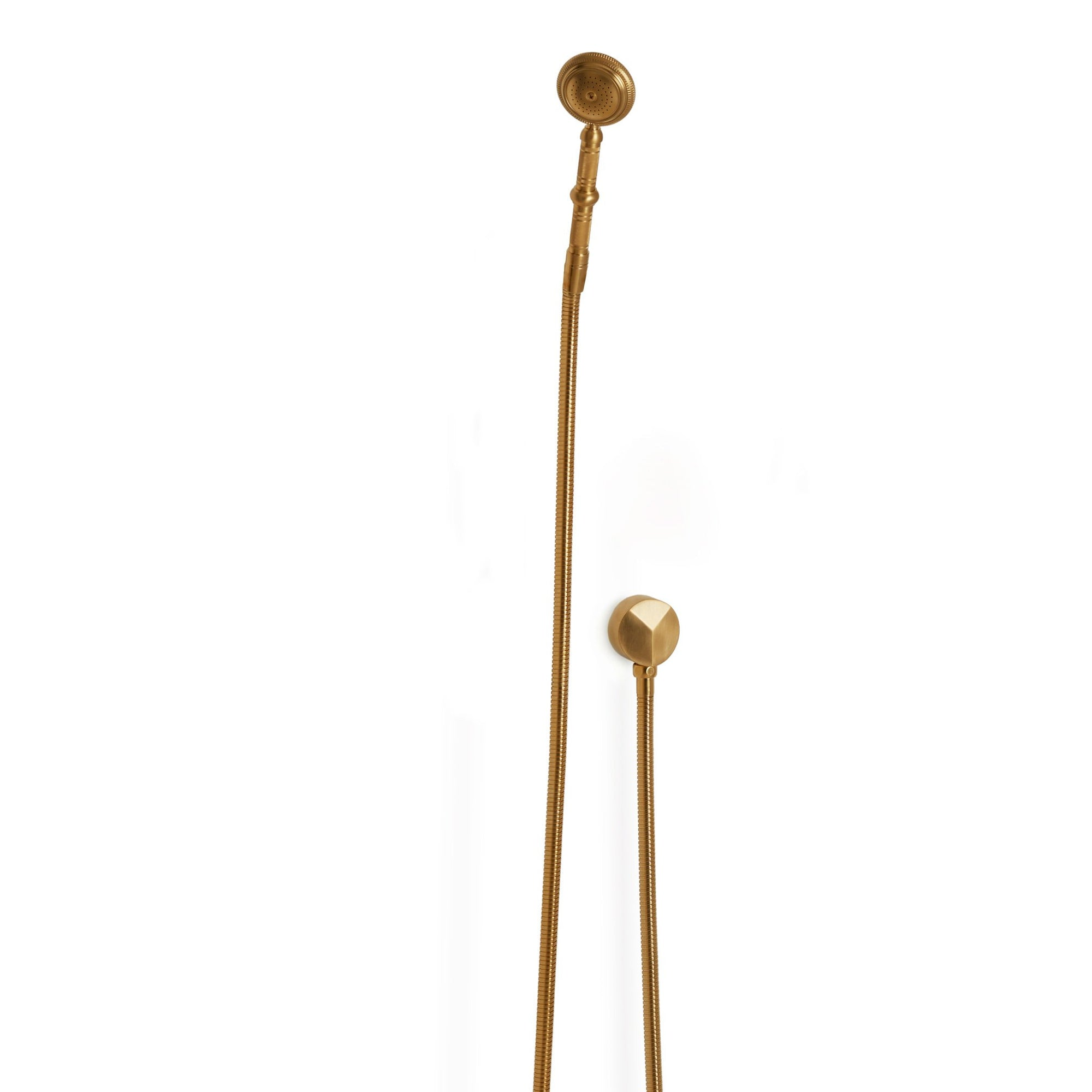 0832SPLY-GP Sherle Wagner International Knurled Hand Shower with Hose and 90 Degree Supply in Gold Plate metal finish
