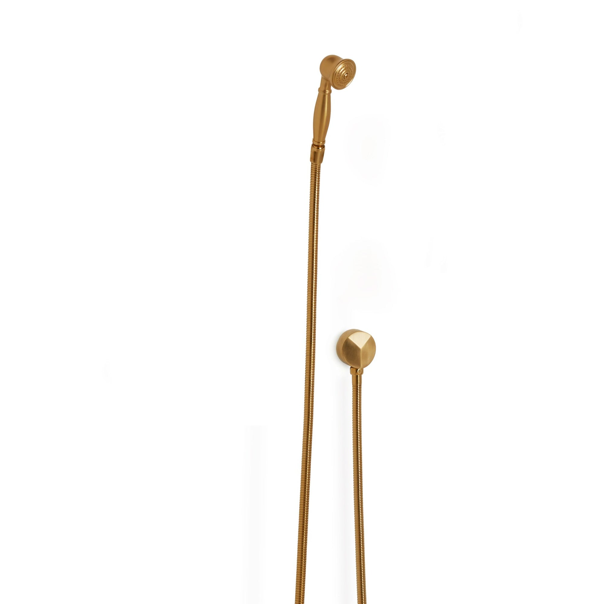 0836SPLY-GP Sherle Wagner International Classical Hand Shower with Hose and 90 Degree Supply in Gold Plate metal finish