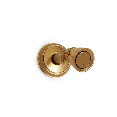 0838S-KN-GP Sherle Wagner International Adjustable Body Spray Small with Knurled Flange in Gold Plate metal finish