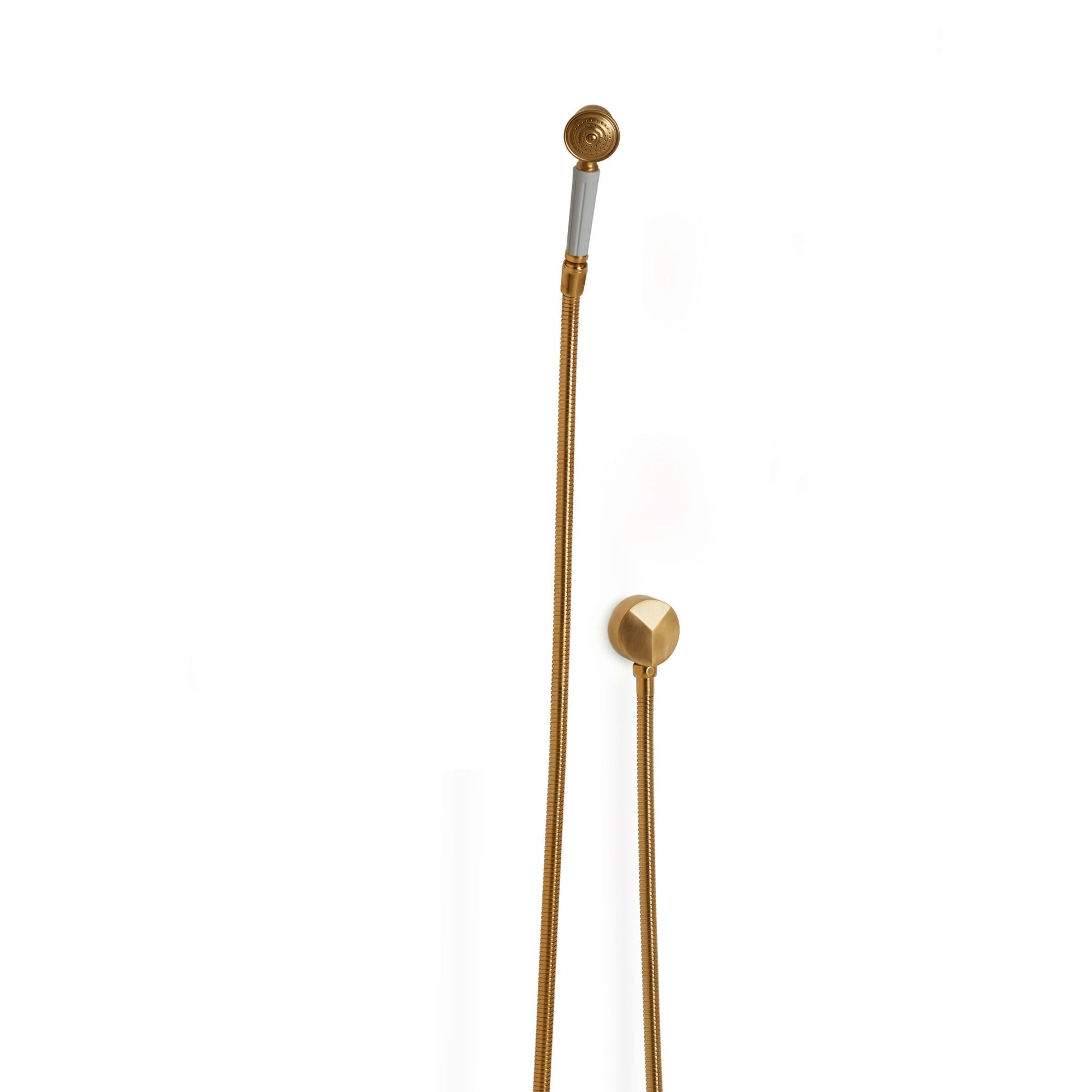 0839SPLY-GP Sherle Wagner International Fluted Hand Shower with Hose and 90 Degree Supply in Gold Plate metal finish