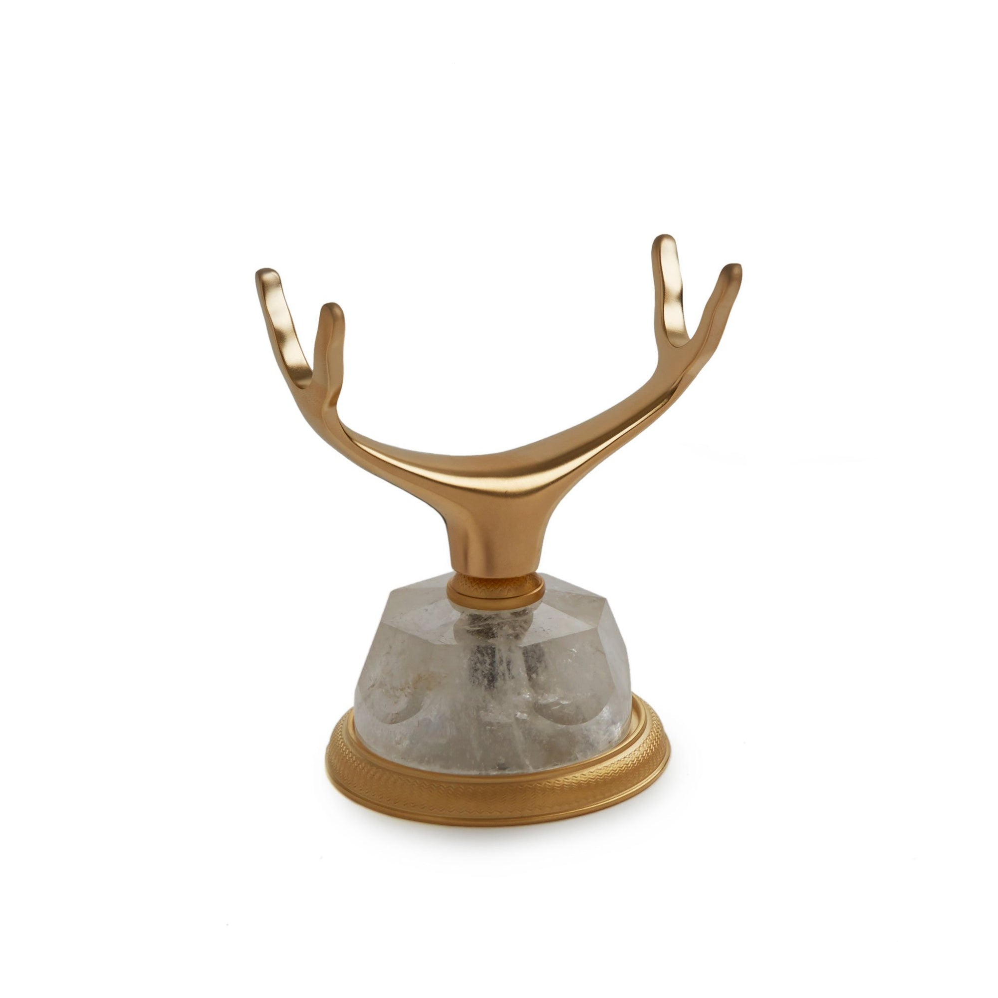 0849DKMT-RKCR-GP Sherle Wagner International Deck Mount Cradle in Gold Plate metal finish with Rock Crystal inserts