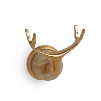 0849WLMT-HNOX-GP Sherle Wagner International Wall Mount Cradle in Gold Plate metal finish with Honey Onyx inserts