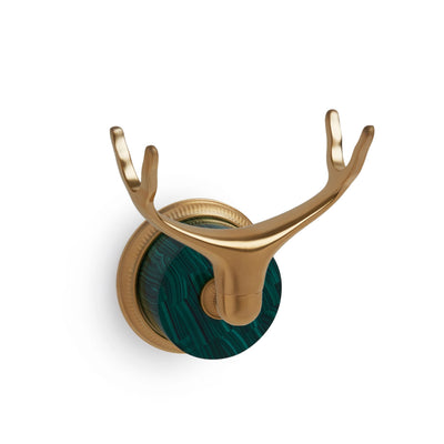 0849WLMT-MALA-GP Sherle Wagner International Wall Mount Cradle in Gold Plate metal finish with Malachite inserts