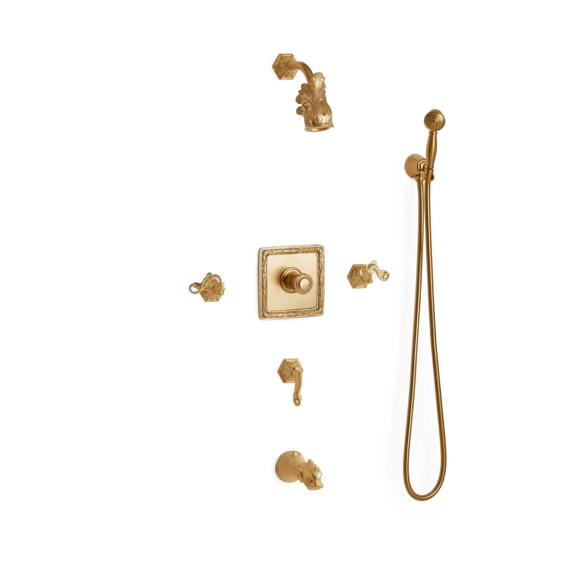 Sherle Wagner International Dolphin High Flow Thermostatic Shower and Tub System in Gold Plate metal finish