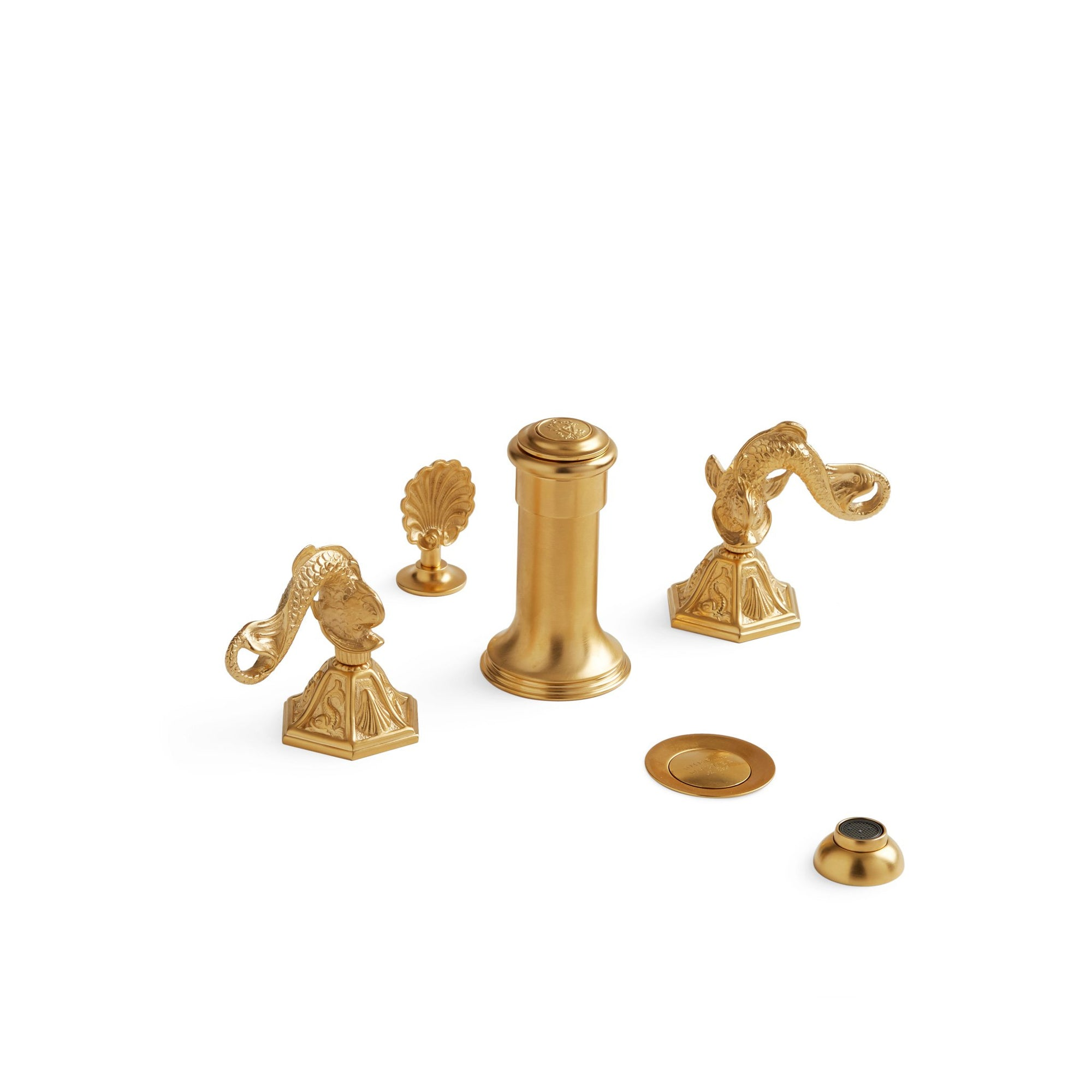 0907BDT-4H-GP Sherle Wagner International Dolphin Lever Bidet Set in Gold Plate metal finish