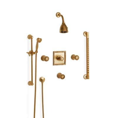 Sherle Wagner International Melon High Flow Thermostatic Shower System in Gold Plate metal finish