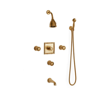 Sherle Wagner International Melon High Flow Thermostatic Shower and Tub System in Gold Plate metal finish