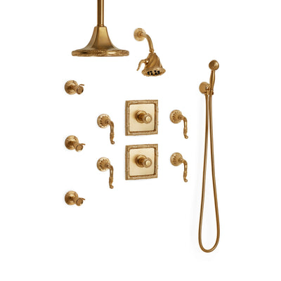 Sherle Wagner International Ribbon & Reed High Flow Thermostatic Shower System in Gold Plate metal finish