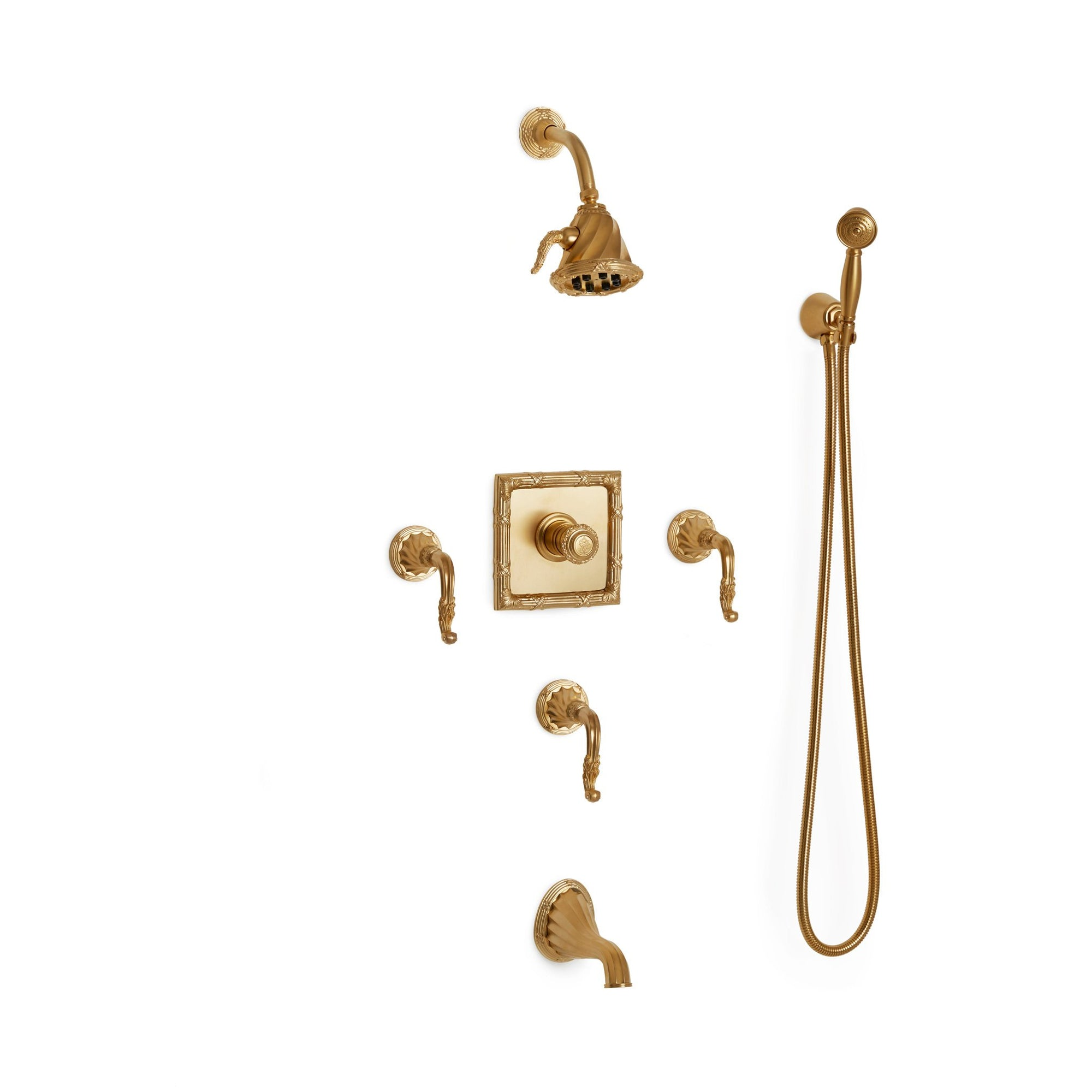 Sherle Wagner International Ribbon & Reed High Flow Thermostatic Shower and Tub System in Gold Plate metal finish