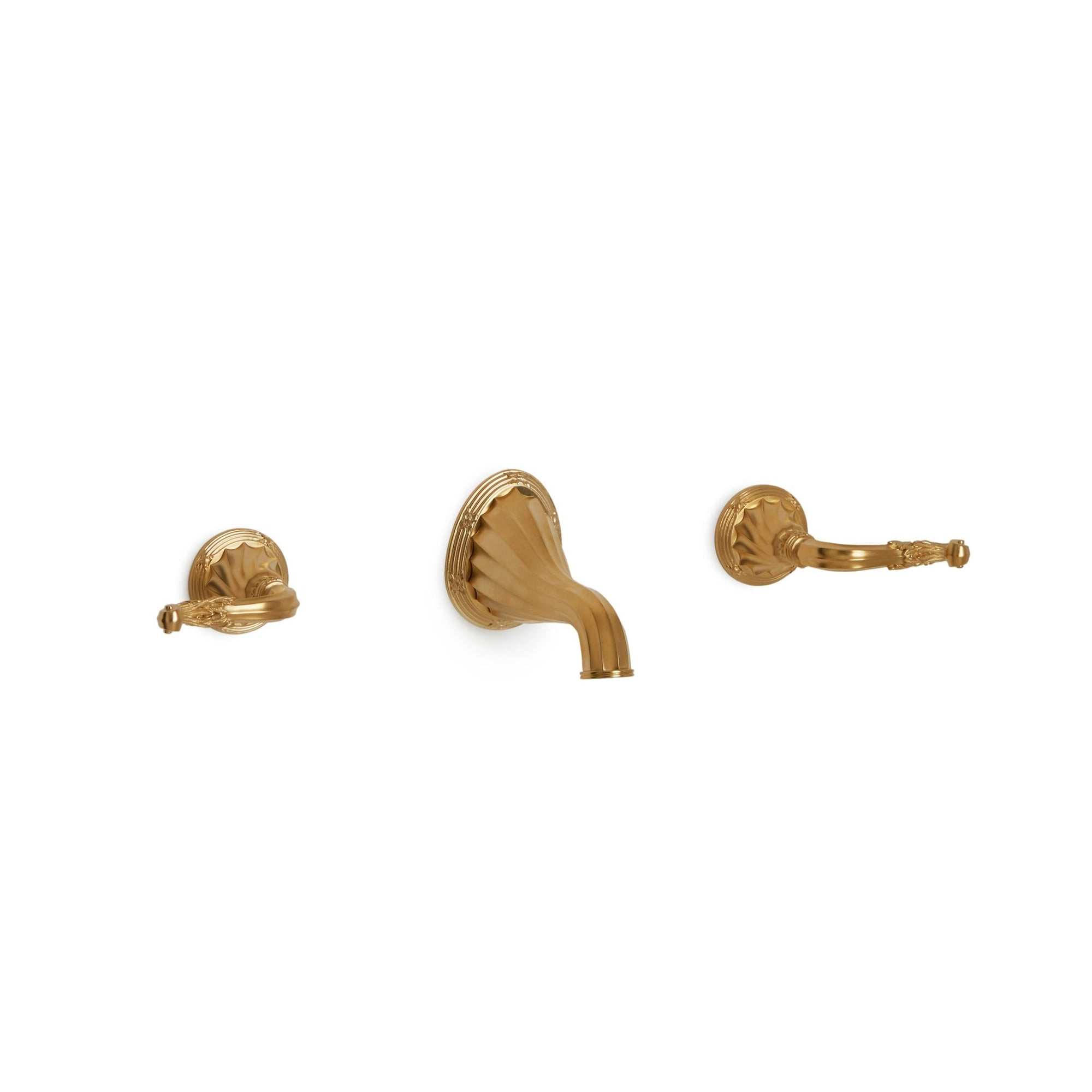 0912WBS818-GP Sherle Wagner International Ribbon and Reed Lever Wall Mount Faucet Set in Gold Plate metal finish