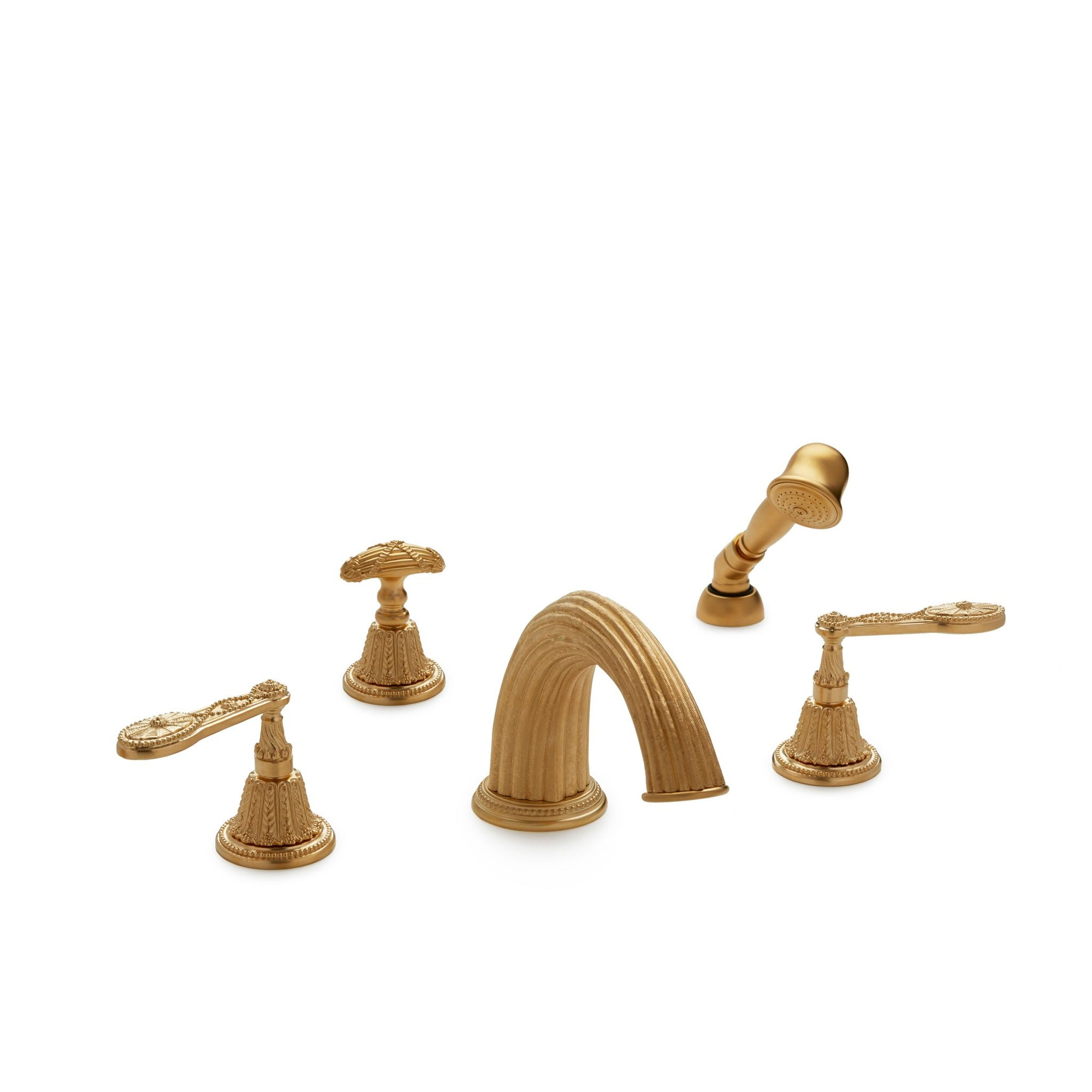 0913DTS821-GP Sherle Wagner International Adam Lever Deck Mount Tub Set with Hand Shower in Gold Plate metal finish