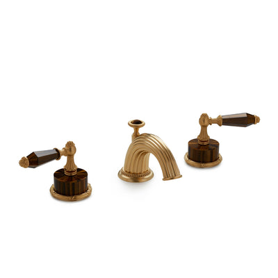 0914BSN813-BRTI-GP Sherle Wagner International Semiprecious Empire Lever Faucet Set in Gold Plate metal finish with Brown Tiger Eye Semiprecious inserts