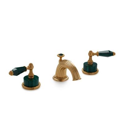 0914BSN813-MALA-GP Sherle Wagner International Semiprecious Empire Lever Faucet Set in Gold Plate metal finish with Malachite Semiprecious inserts
