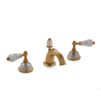 0914BSN813-RKCR-GP Sherle Wagner International Semiprecious Empire Lever Faucet Set in Gold Plate metal finish with Rock Crystal inserts