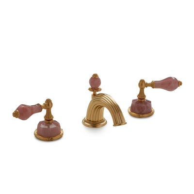 0914BSN813-RSQU-GP Sherle Wagner International Semiprecious Empire Lever Faucet Set in Gold Plate metal finish with Rose Quartz inserts