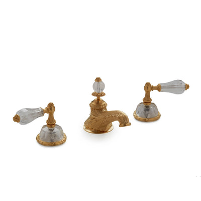 0914BSN819-RKCR-GP Sherle Wagner International Semiprecious Empire Lever Faucet Set in Gold Plate metal finish with Rock Crystal inserts