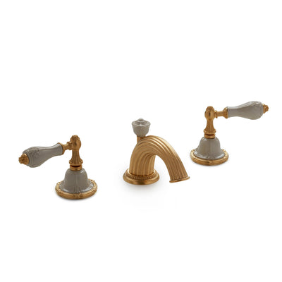 0914BSN821-04SD-GP Sherle Wagner International Provence Ceramic Empire Lever Faucet Set in Gold Plate metal finish with Sand Glaze inserts