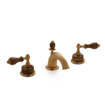0914BSN821-BROX-GP Sherle Wagner International Onyx Empire Lever Faucet Set in Gold Plate metal finish with Brown Onyx inserts