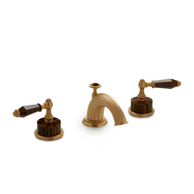 0914BSN821-BRTI-GP Sherle Wagner International Semiprecious Empire Lever Faucet Set in Gold Plate metal finish with Brown Tiger Eye Semiprecious inserts