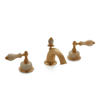 0914BSN821-HNOX-GP Sherle Wagner International Onyx Empire Lever Faucet Set in Gold Plate metal finish with Honey Onyx inserts
