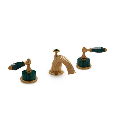 0914BSN821-MALA-GP Sherle Wagner International Semiprecious Empire Lever Faucet Set in Gold Plate metal finish with Malachite Semiprecious inserts