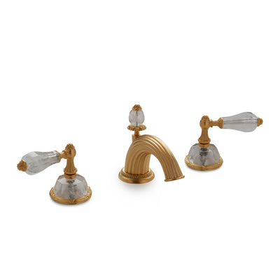 0914BSN821-RKCR-GP Sherle Wagner International Semiprecious Empire Lever Faucet Set in Gold Plate metal finish with Rock Crystal inserts